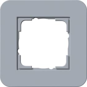 Afdekramen Gira E3 Blauwgrijs Soft-Touch met draagframe zuiver wit glanzend