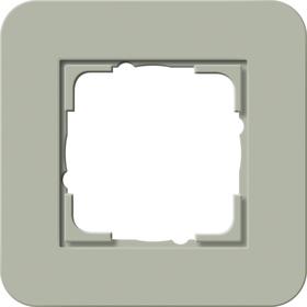 Afdekramen Gira E3 Grijsgroen Soft-Touch met draagframe zuiver wit glanzend