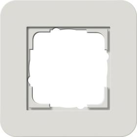 Afdekramen Gira E3 Lichtgrijs Soft-Touch met draagframe zuiver wit glanzend