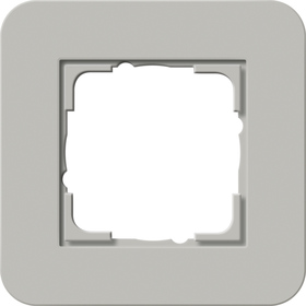 Afdekramen Gira E3 Grijs Soft-Touch met draagframe zuiver wit glanzend