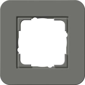 Afdekramen Gira E3 Donkergrijs Soft-Touch met draagframe zuiver wit glanzend