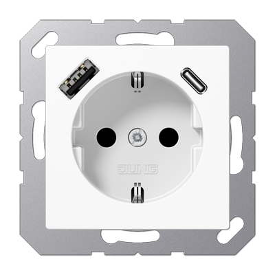 Wandcontactdoos USB-laadcontact type C/A