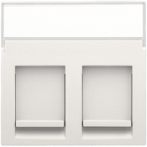 Niko 101-65600 Centraalplaat data 2x rj met tekstveld, White