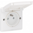 Niko 701-36600 Spuitwaterdicht stopcontact met penaarde, kinderveiligheid en schroefklemmen, exclusief opbouwdoos, White