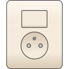 Niko 100-62416 combinatie van wisselschakelaar en wandcontactdoos, volledig apparaat incl. afdekplaat, Cream