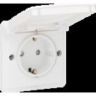 Niko 701-36800 Spuitwaterdicht stopcontact met randaarde, kinderveiligheid en schroefklemmen, exclusief opbouwdoos, White