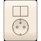 Niko 100-62815 combinatie van serieschakelaar en wandcontactdoos met randaarde, volledig apparaat incl. afdekplaat, Cream