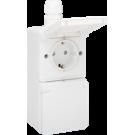 Niko 701-37842 Spuitwaterdicht dubbel verticaal stopcontact met randaarde, kinderveiligheid en schroefklemmen, voorbedraad – inclusief doos met één ingang, White