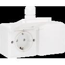 Niko 701-37848 Spuitwaterdicht dubbel horizontaal stopcontact met randaarde, kinderveiligheid en schroefklemmen, voorbedraad – inclusief doos met één ingang, White